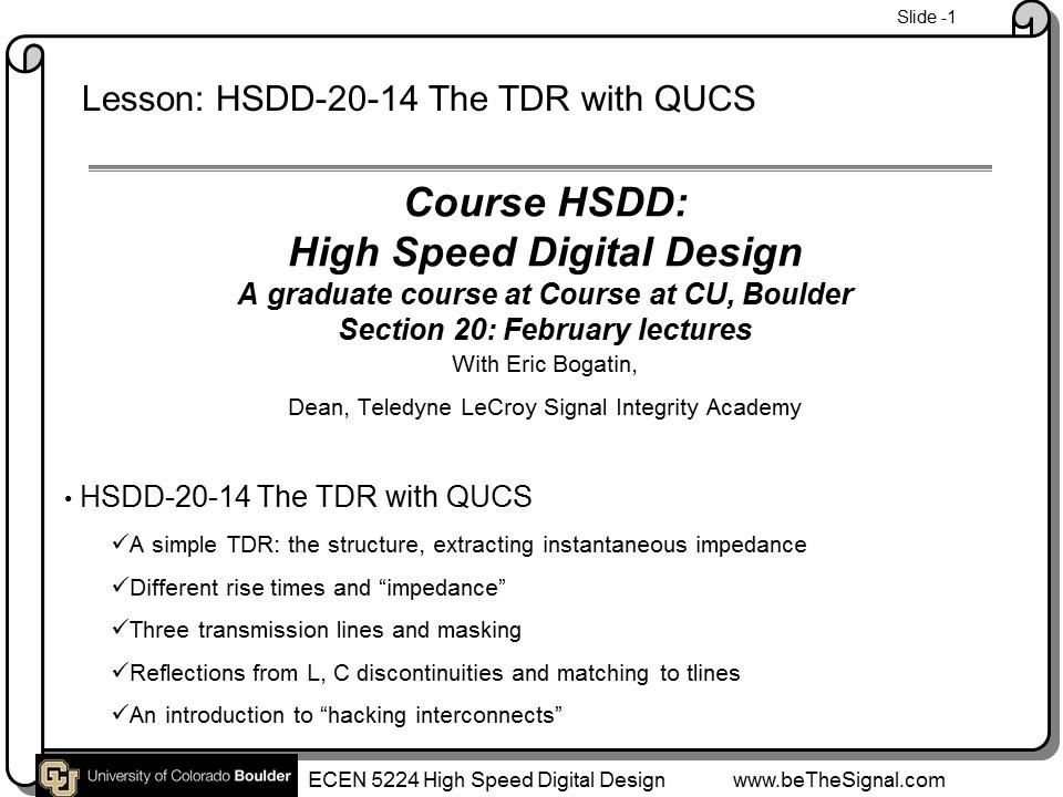 beTheSignal - HSDD-20-14 QUCS Lab The TDR